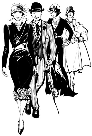 looking away: Group of people wearing 1910-1940 dress - vector illustration