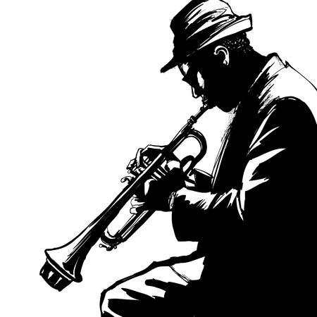 музыка: Джаз трубач-векторная иллюстрация