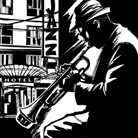 Jazztrompettist-Vector illustratie Stock Illustratie