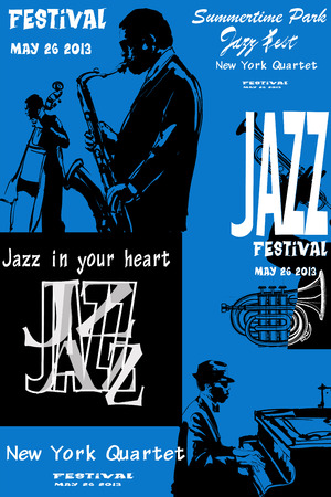 popular music concert: Jazz poster with saxophone, double-bass and piano - Vector illustration