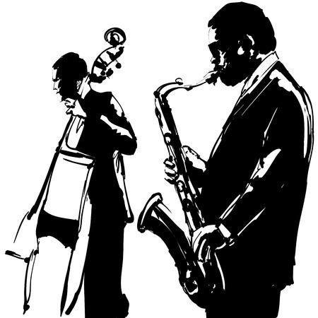 saxofón: Jazz con el saxofón y contrabajo - ilustración vectorial