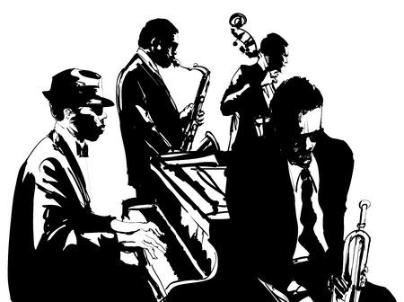 pianista: Cartel de jazz con saxofón, contrabajo, piano y trompeta - ilustración vectorial