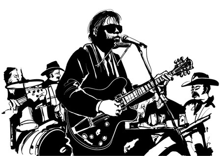 blues: Blues and country jazz guitarist - vector illustration Illustration