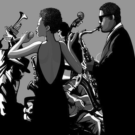Jazz band con il cantante, sassofono, contrabbasso e pianoforte - illustrazione vettoriale Vettoriali