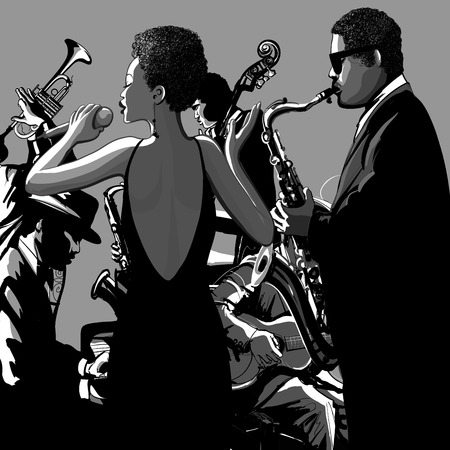 jazz band: Jazz band with singer, saxophone, double-bass and piano - Vector illustration