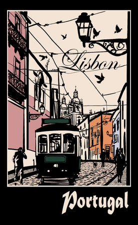 tramway: Typical architecture and tramway in Lisbon - Vector illustration