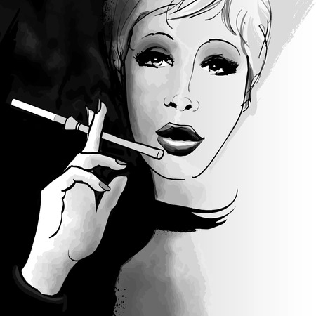 woman smoking: Portrait of a woman smoking with a cigarette holder - Vector illustration