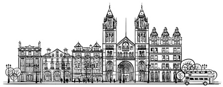 victorian people: British old traditional facade of London - vector illustration Illustration