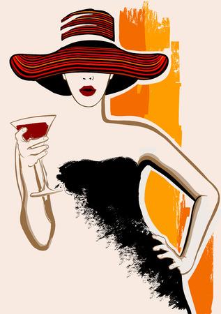 bocetos de personas: Mujer bonita con el sombrero grande que tiene coctel - ilustraci�n vectorial