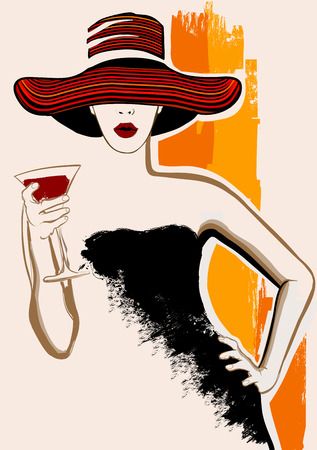 glass with red wine: Pretty woman with large hat having cocktail - vector illustration