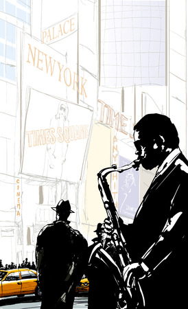 times square: Saxophone player in a street of New York near Times Square