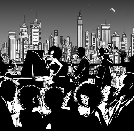bands: Jazz music band performing in New York - Vector illustration