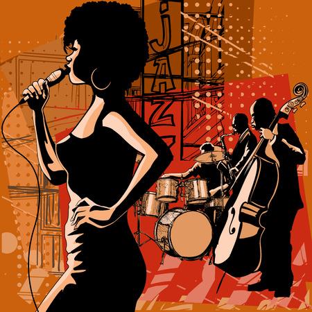 Cantante jazz con il sassofonista giocatore e contrabbasso - illustrazione vettoriale