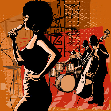 karaoke: Jazz singer with saxophonist and double-bass player - Vector illustration