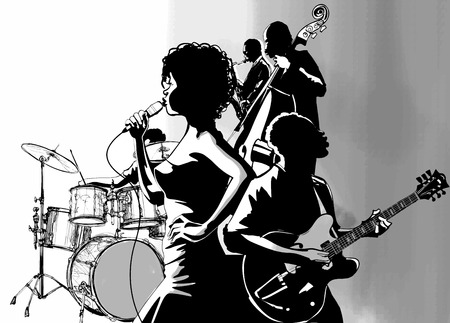 singer with microphone: Jazz singer with guitar saxophone and double-bass player - Vector illustration