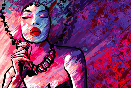 Jazz singer with microphone on grunge background - Vector illustration Çizim