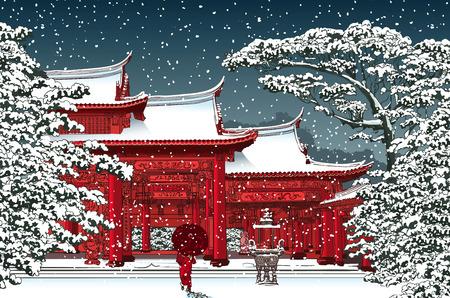 日本: 雪 - ベクトル図の下で日本語または中国語の寺院