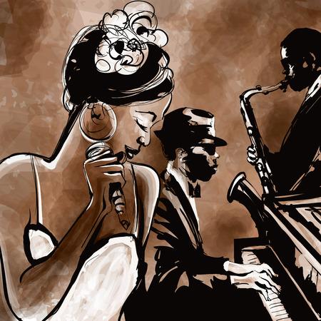 tocando el piano: Banda de jazz con el cantante, el saxofón y el piano - ilustración vectorial Foto de archivo