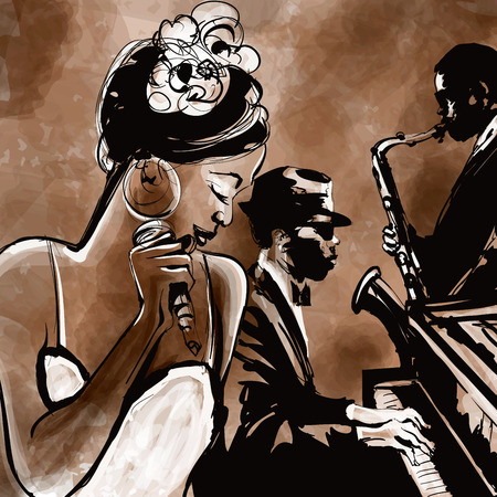 Jazz band with singer, saxophone and piano - vector illustration Stock Photo