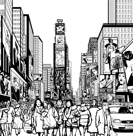 Interpretation of Times Square in New York in black and white- Vector illustration