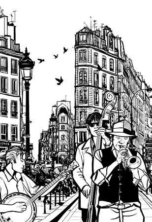 jazz men: Jazz band in a street of Paris - Vector Illustration