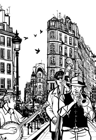 Jazz band in a street of Paris - Vector Illustration
