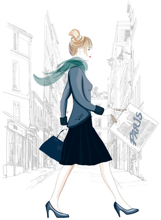 montmartre: Paris - shopping woman tourist in Montmartre carrying shopping bags - Vector illustration