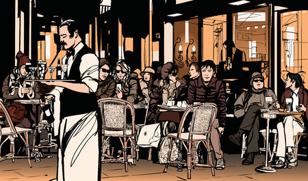 Waiter serving customers at traditional outdoor Parisian cafe - Vector illustration