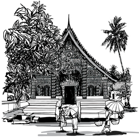 buddhist temple: Buddhist temple in Asia with monks - Vector illustration
