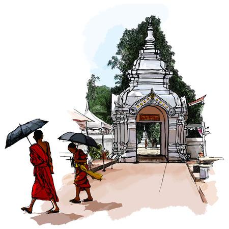 thai temple: Buddhist Monks in Laos - Vector illustration Illustration