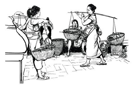 vendors: Vendors in a street market in laos - vector illustration