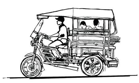 tuk: Driving tuk tuk in Laos - vector illustration Illustration