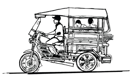 rikscha: Fahren Tuk Tuk in Laos - Vektor-Illustration