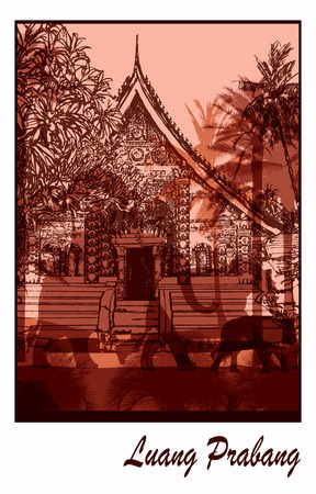 lao: Buddhist temple in Asia in Luang Prabang Laos - Vector illustration Illustration