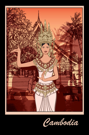 カンボジア - ベクトル図でアプサラ ダンサー  イラスト・ベクター素材