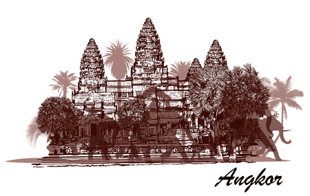 hindu temple: Angkor wat with elephants and palm trees - vector illustration