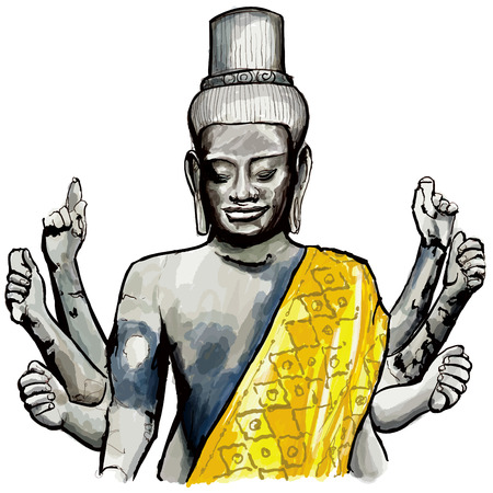 ancient civilization: Sculpture of Wishnu in Angkor wat - vector illustration