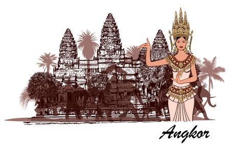 wat: Angkor wat with elephants, palm trees and apsara- vector illustration