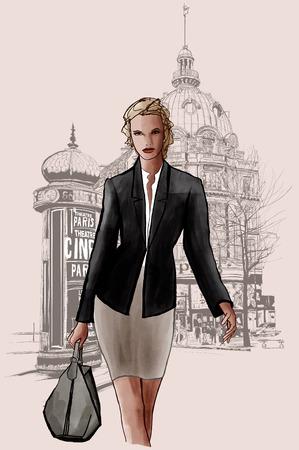 boulevard: Woman walking at the grand boulevard in Paris - vector illustration