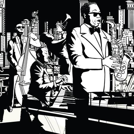 saxofón: Banda de jazz en Nueva York - saxofón contrabajo, trompeta y teclado - ilustración vectorial