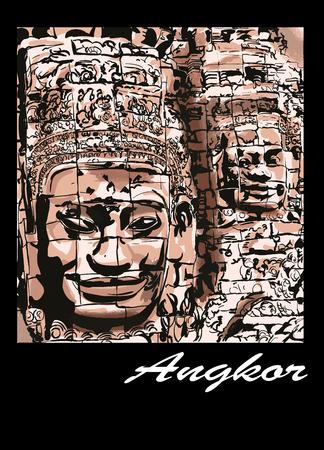 archaeological: Angkor - the Bayon - Vector illustration Illustration