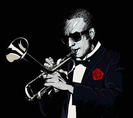 trumpet player: Trumpet player - vector illustration