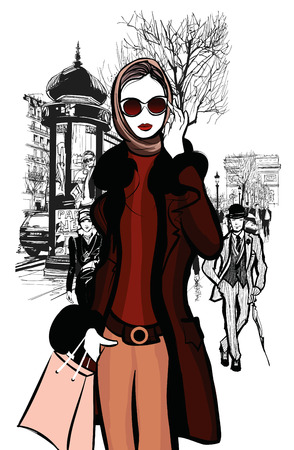 Femme shopping sur Champs-Elysées à Paris avec l'Arc de Triomphe en arrière-plan - illustration vectorielle Banque d'images - 44220707