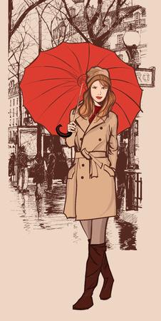 Femme avec un parapluie rouge souriant dans une rue de Paris - illustration vectorielle Vecteurs