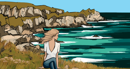woman sitted on the ground looking at the ocean - vector illustration