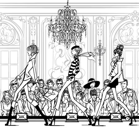 Fashion women defile - vector illustration