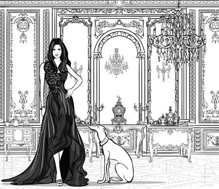 chart: Kobieta w pałacu z charta - ilustracji wektorowych