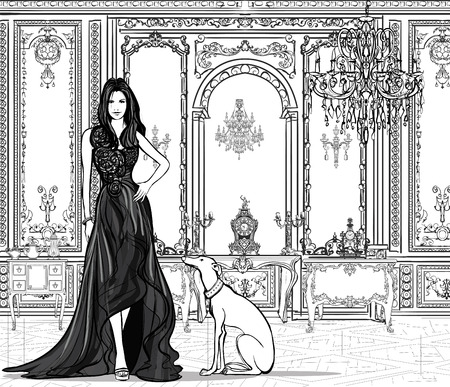 greyhound: Woman in a palace with a greyhound - vector illustration
