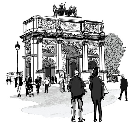 napoleon: Arch of triumph Carousel and Tuileries garden in Paris - vector illustration