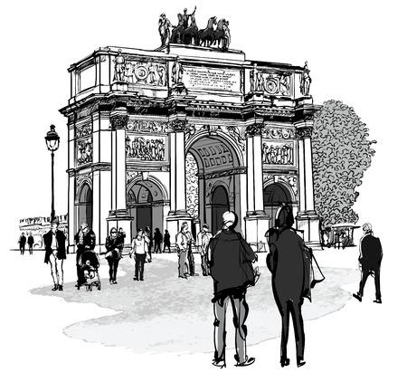 napoleon: Arch of triumph Carousel and Tuileries garden in Paris - vector illustration